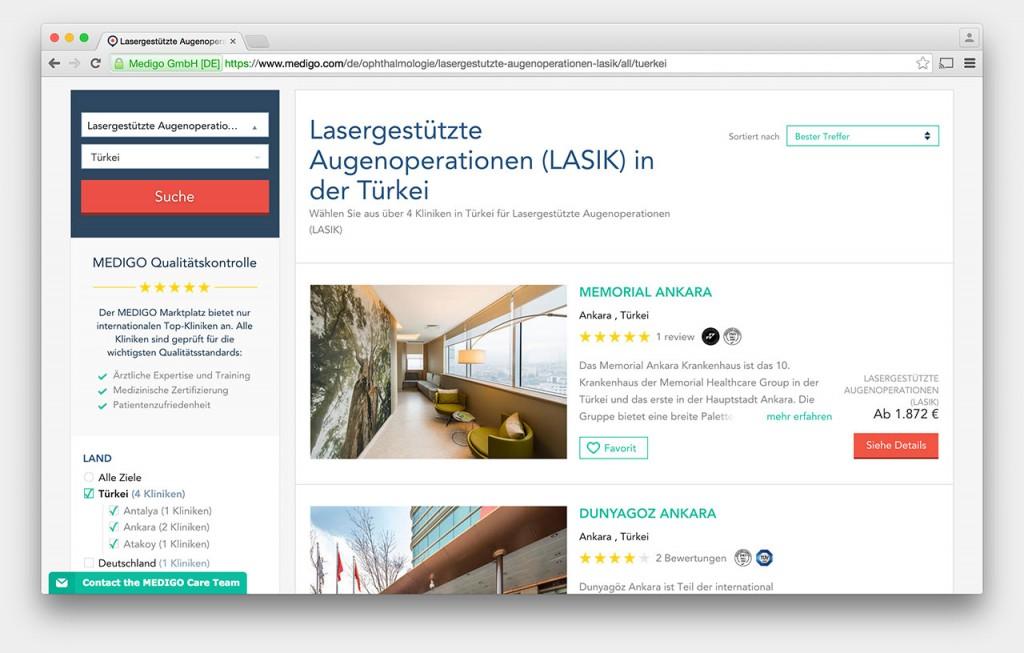 Screenshot: MEDIGO-Website