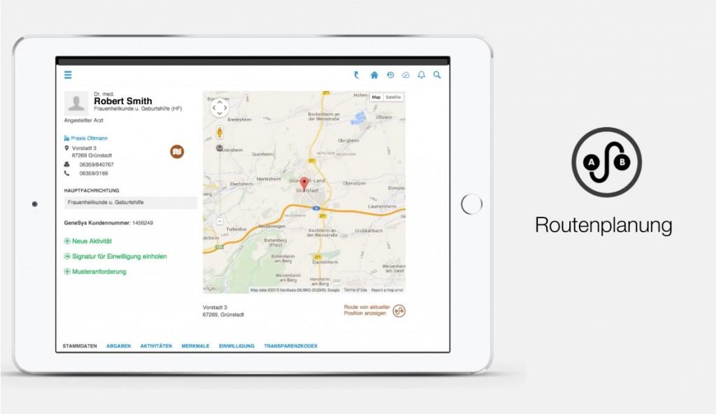 ysura Screenshot Routenplanung
