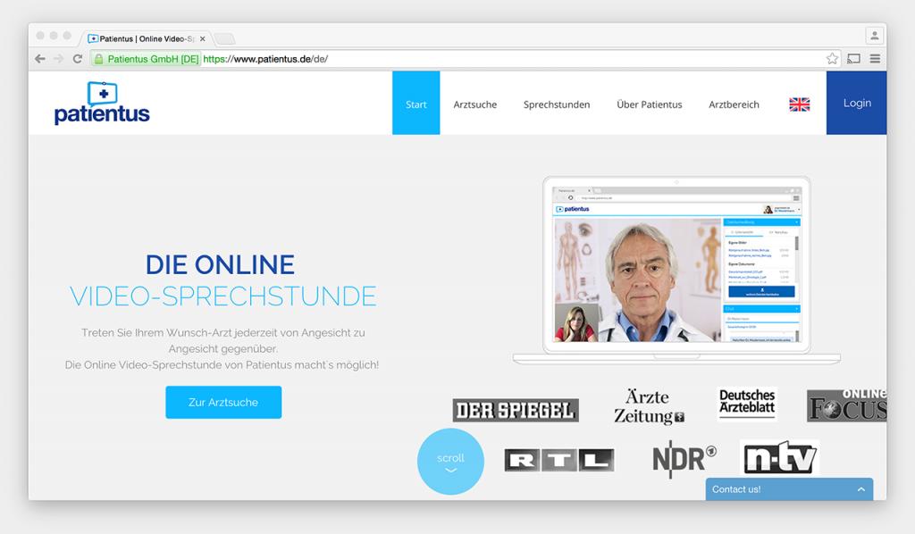 Screenshot: Startseite der Patientus-Website